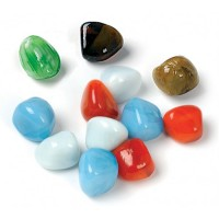 Toots Colourful mix of glass gems packed in pvc bag that weighs 340gms.