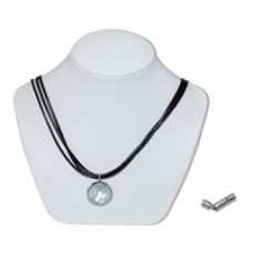 BLACK-SLIVER NECKLACE-MARBLE AND CLASP