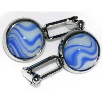 Blue Bumble Cufflinks that are all hand assembled and totally unique to Macaraya
