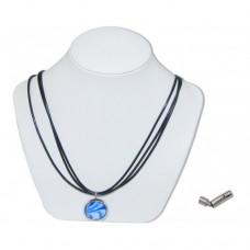 Blue Bumble Toons Marble Insert With Black 3 Strand Leather Necklace