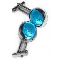 Blue Luminous Cufflinks that are all hand assembled and totally unique to Macaraya