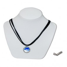 Blue Spider Yap Marble Insert With Black And White 3 Strand Leather Necklace