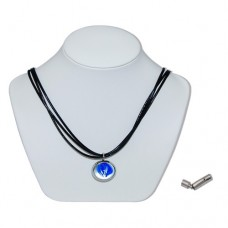 Blue Starfish Marble Insert With Black 3 Strand Leather Necklace