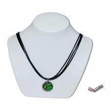 Choco Mint Handmade Marble Insert With Black 3 Strand Leather Necklace