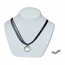 Clear Luminous Marble Insert With Black 3 Strand Leather Necklace