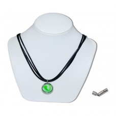 Green Bumble Toons Marble Insert With Black 3 Strand Leather Necklace