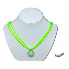 Green Bumble Toons Marble Insert With Green Grass 3 Strand Leather Necklace
