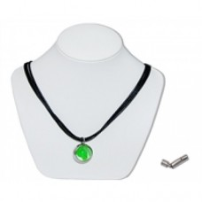 Green Bunting Marble Insert With Black 3 Strand Leather Necklace