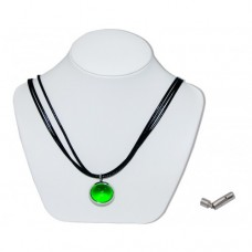Green Pearly King Marble Insert With Black 3 Strand Leather Necklace
