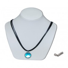 Light Blue Pearly King Marble Insert With Black 3 Strand Leather Necklace