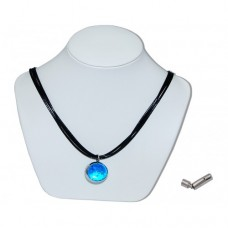 Luminous Blue Marble Insert With Black 3 Strand Leather Necklace