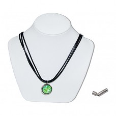 Luminous Green Marble Insert With Black 3 Strand Leather Necklace