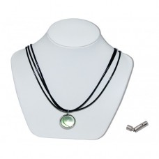 One Eye Green Marble Insert With Black 3 Strand Leather Necklace