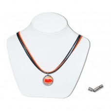 Orange Bumble Toons Marble Insert With Black And Orange 3 Strand Leather Necklace