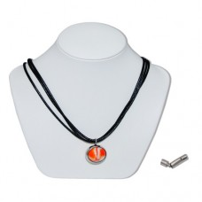Orange Bumble Toons Marble Insert With Black 3 Strand Leather Necklace