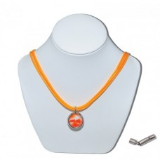 Orange Bumble Toons Marble Insert With Orange 3 Strand Leather Necklace