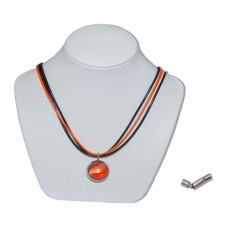 Orange Bumble Toons Marble Insert With Orange And Black 3 Strand Leather Necklace