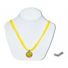 Princess Kate Handmade Marble Insert With Yellow 3 Strand Leather Necklace