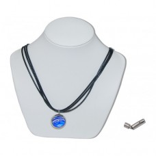 Sabre Squeezle Marble Insert With Black 3 Strand Leather Necklace