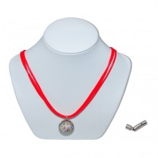 White Cosmic Pixy Marble Insert With Red 3 Strand Leather Necklace