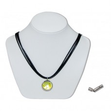 Yellow Bunting Marble Insert With Black 3 Strand Leather Necklace