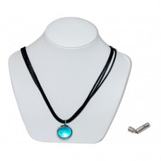 Blue Bunting Marble Insert With Black 3 Strand Leather Necklace